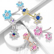7 CZ Flower with Internally Threaded CZ Flower Top 316L Surgical Steel Belly Button Navel Rings