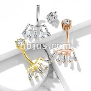 Princess Cut CZ Fan with Internally Threaded Crown Set CZ Top 316L Surgical Steel Belly Button Rings
