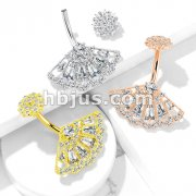 CZ Paved Vintage Fan with Internally Threaded CZ Paved Filigree Top 316L Surgical Steel Belly Button Rings