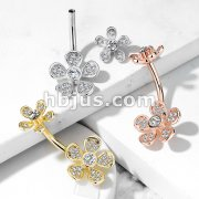 Micro CZ Paved Flower with Internally Threaded Flower Top 316L Surgical Steel Belly Button Navel Rings