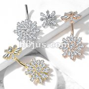 Double Tiered Baguette CZ Flower with Internally Threaded CZ Flower Top 316L Surgical Steel Belly Button Navel Rings