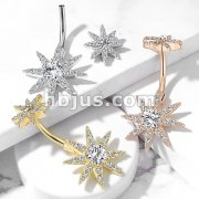 CZ Paved Starburst with Internally Threaded CZ Starburst Top 316L Surgical Steel Belly Button Navel Rings