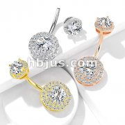 Double Tier Paved CZ Around Large CZ with Internally Threaded Matching Top 316L Surgical Steel Belly rings