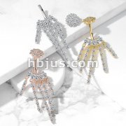 CZ Chandelier with Internally Threaded CZ Flower Top 316L Surgical Steel Belly Button Navel Rings