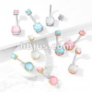 Prong Set Illuminating Stone Internally Threaded Prong Set Illuminating Stone Top 316L Surgical Steel Belly Button Navel Rings