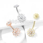 Marquise CZ Flower with Internally Threaded CZ Center Flower Top 316L Surgical Steel Belly Button Navel Rings