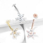 5 Marquise CZ Petals Flower with Internally Threaded CZ Center Small Flower Top 316L Surgical Steel Belly Button Navel Rings