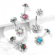 Colored Gem Center and Clear Gem Petals Antique Silver Plated Flower with Internally Threaded Gemmed Flower Top 316L Surgical Steel Belly Button Navel Rings