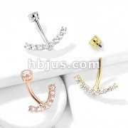 CZ Paved Curved Line with Internally Threaded Round CZ Top 316L Surgical Steel Belly Button Navel Rings