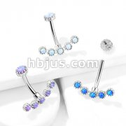 Opal Curved Line with Internally Threaded Opal Top 316L Surgical Steel Belly Button Navel Rings