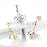 Bee with CZ Wings and Face with Internally Threaded CZ Center Flower Top 316L Surgical Steel Belly Button Navel Rings