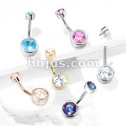 Bezel Set Round CZ and Stamped Sides with Internally Threaded CZ Top 316L Surgical Steel Belly Button Navel Rings
