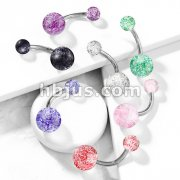 Acrylic Color Ultra Glitter Ball with 316L Surgical Steel 14GA 3/8 Navel