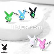 Playboy Bunny with Opal Glitter Filled Top 316L Surgical Steel Nose Bone Stud Rings