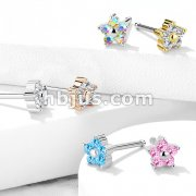 Five CZ Flower Top 316L Surgical Steel Nose Stud Rings