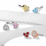 CZ Set Heart Top 316L Surgical Steel Nose Stud Rings
