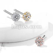 CZ Flower with Double Tiered CZ Center Top 316L Surgical Steel Nose Bone Stud