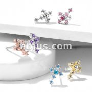 CZ Cross 316L Surgical Steel Nose Bone Stud