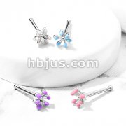 Enamel Flower Top 316L Surgical Steel Nose Bone Stud Rings
