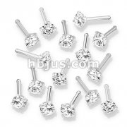 100 Pcs Prong Set Round CZ Top 316L Surgical Steel Nose Bone Stud Rings