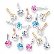 100 Pcs Prong Set Round CZ Top PVD over 316L Surgical Steel Nose Bone Stud Rings (20 Pcs x 5 Colors)