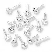 100 Pcs Prong Set Square CZ Top 316L Surgical Steel Nose Bone Stud Rings