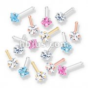 100 Pcs Prong Set Square CZ Top PVD over 316L Surgical Steel Nose Bone Stud Rings (20 Pcs x 5 Colors)