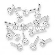 100 Pcs Prong Set Star CZ Top 316L Surgical Steel Nose Bone Stud Rings