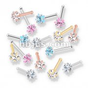 100 Pcs Prong Set Star CZ Top PVD over 316L Surgical Steel Nose Bone Stud Rings (20 Pcs x 5 Colors)