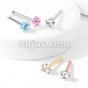 Prong Set Star CZ Top 316L Surgical Steel Nose Bone Stud Rings