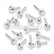 100 Pcs Prong Set Heart CZ Top 316L Surgical Steel Nose Bone Stud Rings