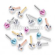 100 Pcs Prong Set Heart CZ Top PVD over 316L Surgical Steel Nose Bone Stud Rings (20 Pcs x 5 Colors)