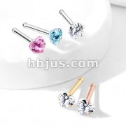 Prong Set Heart CZ Top 316L Surgical Steel Nose Bone Stud Rings