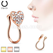 Heart with Clear Gem Non Piercing Gold IP Brass Nose Clip