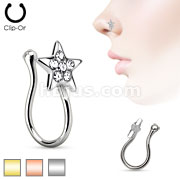 Star with Gem Non Piercing Gold Ion Plated Brass Nose Clip