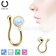 Opalite Gem Non Piercing Gold IP Brass Nose Clip