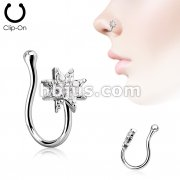 Starburst CZ Paved Non Piercing Nose Clip