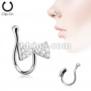 Ribbon Bow Tie CZ Paved Non Piercing Nose Clip