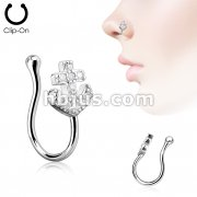 Anchor CZ Paved Non Piercing Nose Clip