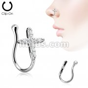 Cross CZ Paved Non Piercing Nose Clip