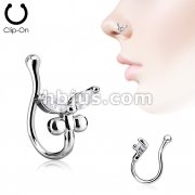 CZ Butterfly Non Piercing Nose Clip
