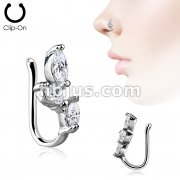 Triple Marquise CZ SproutNon Piercing Nose/ Ear Clips