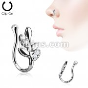Olive Branch with CZ Paved Leaves Non Piercing Nose Clip