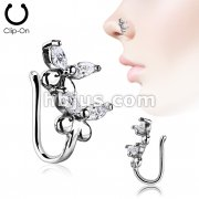 Double CZ Butterfly Non Piercing Nose/ Ear Clips