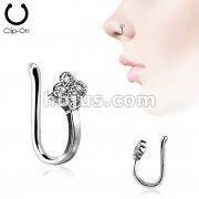 CZ Paved Dia Flower Non Piercing Nose/ Ear Clips