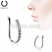Lined CZ Set Bar Non Piercing Nose/ Ear Clips