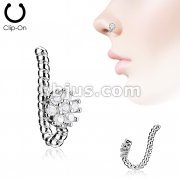 7 CZ Flower with Braided Non Piercing Nose Clip