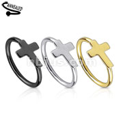 Cross IP Over 316L Surgical Steel Nose Ring