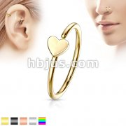 Heart IP Plating over 316L Surgical Steel Nose Hoop Ring