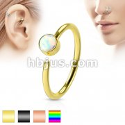 White Opal Set IP Plating over 316L Surgical Steel NoseHoop Ring